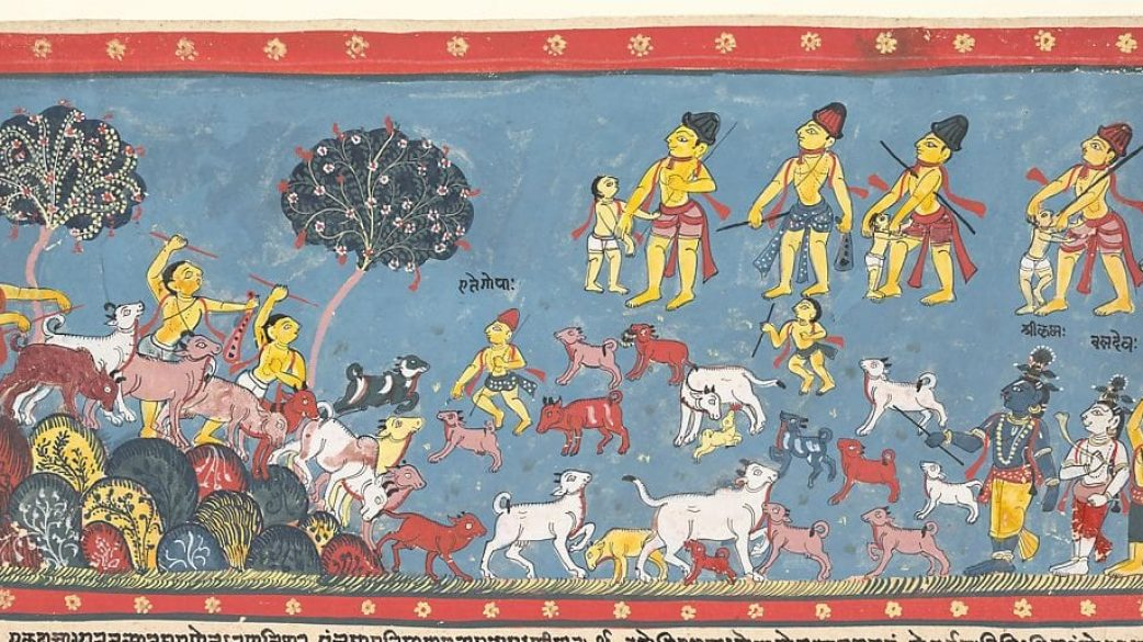 Krishna, Balarama, and the Cowherders: Page from a Dispersed Bhagavata Purana (Ancient Stories of Lord Vishnu), 1800–25 India (Orissa),  Ink and opaque watercolor on paper; 9 5/8 x 15 1/4 in. (24.4 x 38.7 cm) The Metropolitan Museum of Art, New York, Purchase, Mr. and Mrs. Harry Kahn Gift Fund, 1974 (1974.147) http://www.metmuseum.org/Collections/search-the-collections/37996
